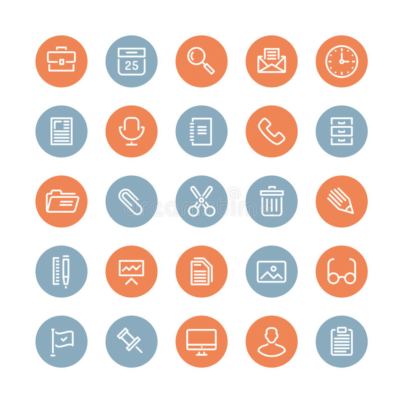 Office equipment and objects flat icons stock illustration