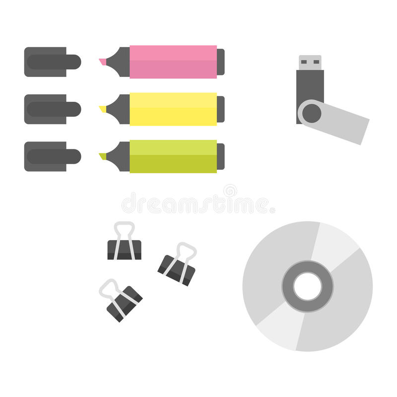 Office equipment vector. Group of office equipment. Digital business telecommunication workplace. Mobile internet information device. Multimedia technology tool vector illustration