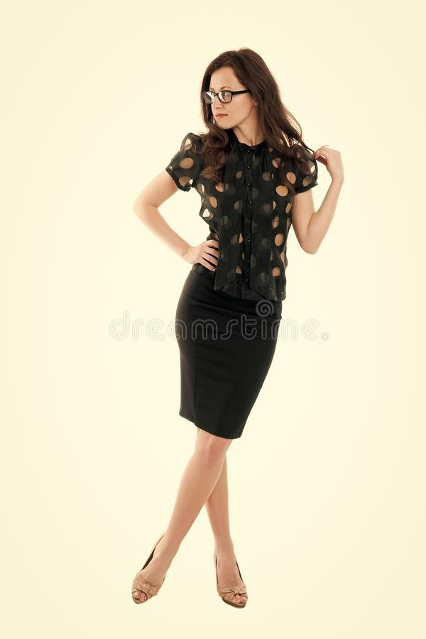 Office fashion. Successful independent woman. Lady business coach. Woman attractive teacher or lecturer. Business lady. Office manager. Business speaker. Girl stock photo