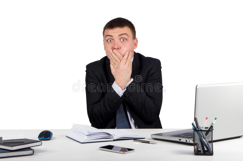 Businessman closing mouth with hands. Shut up. Office, finances, internet, business, success and people concept-Businessman closing mouth with hands. Shut up stock photo