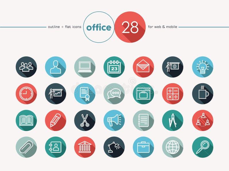 Office flat icons set royalty free illustration