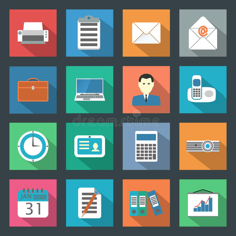 Download Office flat icons set stock vector. Image of computer - 35336115