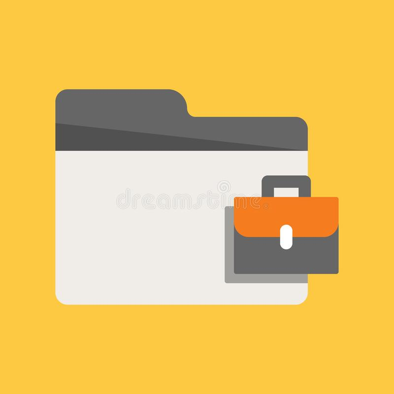 Office Folder. Business Folder Icon in flat design with Briefcase symbol royalty free illustration