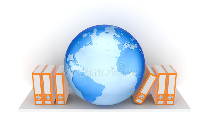 Download Office Folders And Big Globe. Stock Illustration - Illustration: 28860436