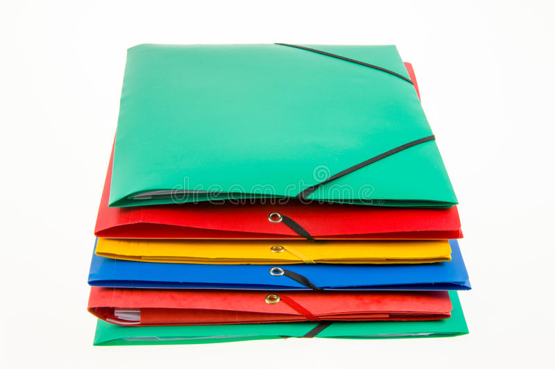 Office folders. Colorful office folders on white background royalty free stock photo