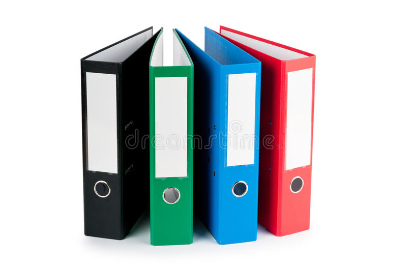 Office folders isolated on the white. Background royalty free stock photos