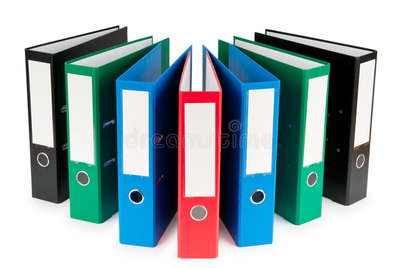 Office folders isolated on the white. Background stock photo