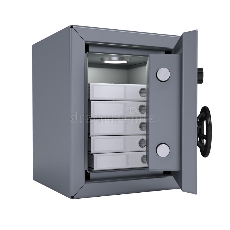 Office folders in an open metal safe. Folders illuminated lamp. Isolated render on a white background royalty free illustration