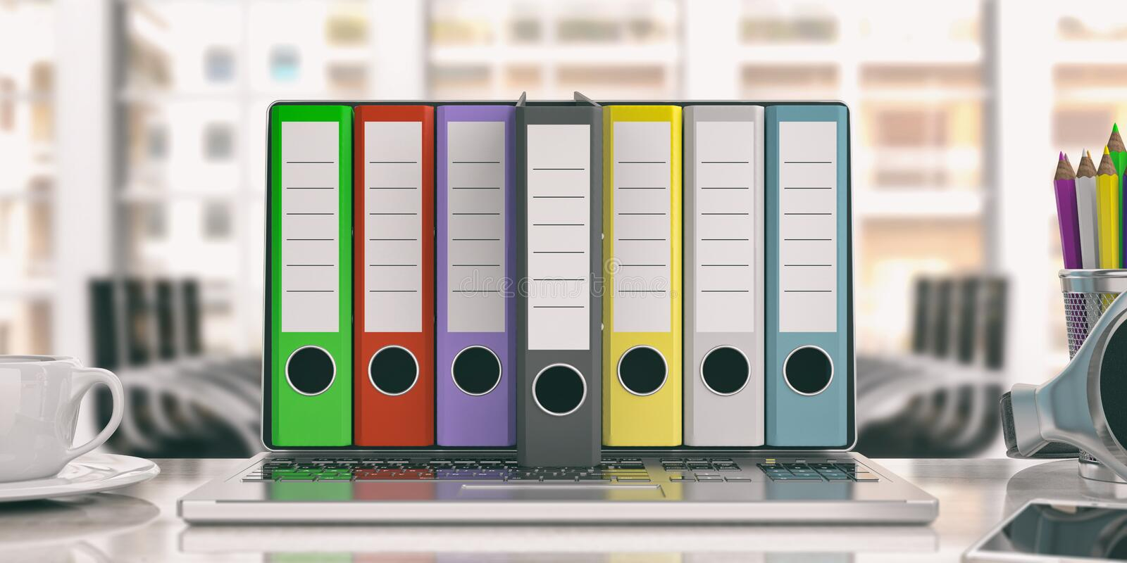 Office folders out of a laptop - office background. 3d illustration vector illustration