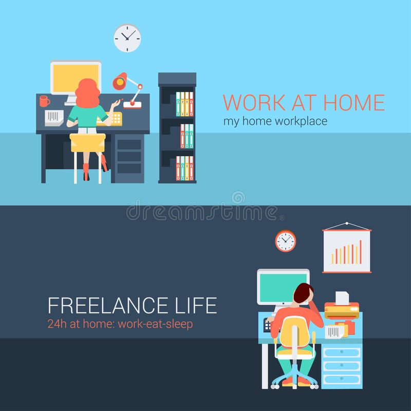 Office And Freelance Work In Workplace Furniture Vector Concept ...