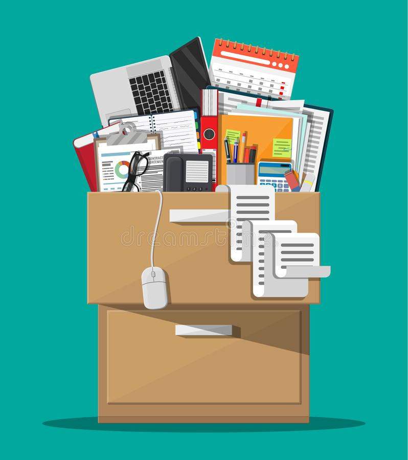 Office furniture. Cabinet, locker, drawer. Office furniture. Case, box with folders, document papers, calendar, calculator, laptop and pencils, eyeglasses, book stock illustration