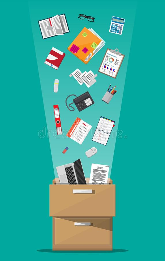 Office furniture. Cabinet, locker, drawer. Office furniture. Case, box with folders, document papers, calendar, calculator, laptop and pencils, eyeglasses, book royalty free illustration