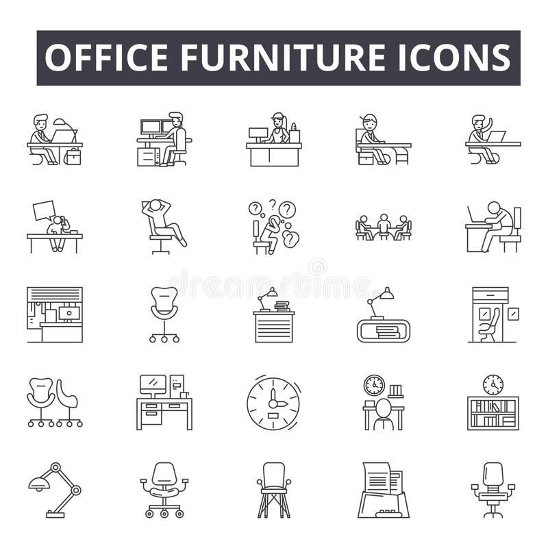 Office furniture line icons, signs, vector set, linear concept, outline illustration royalty free illustration