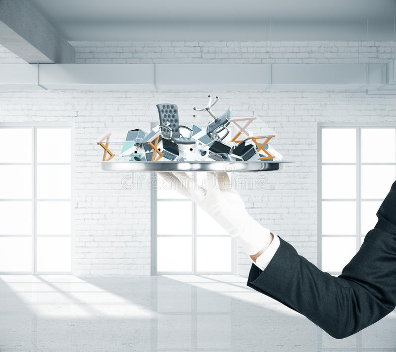 Office goods on tray royalty free stock photo