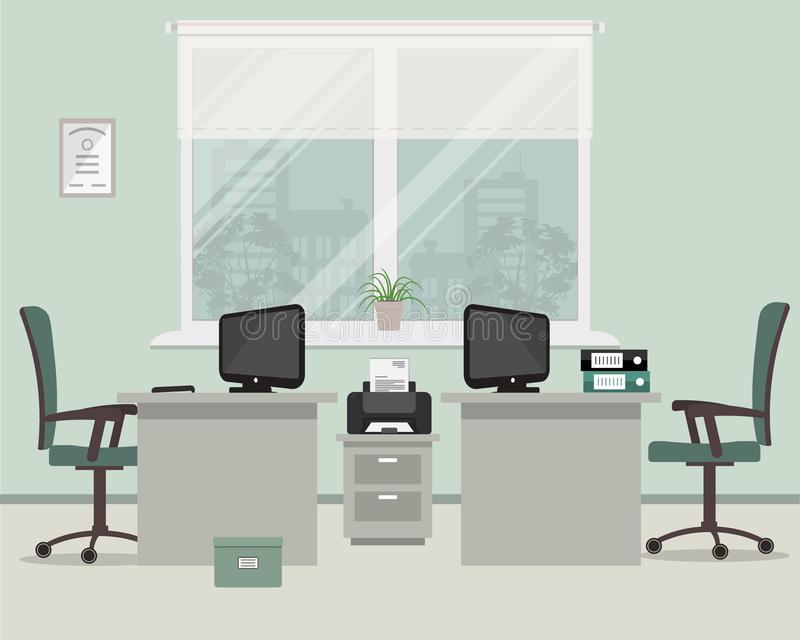 Office in a gray color. Workplace for two workers on a window background. There are desks, chairs, a printer, computers, folders and other objects in the royalty free illustration