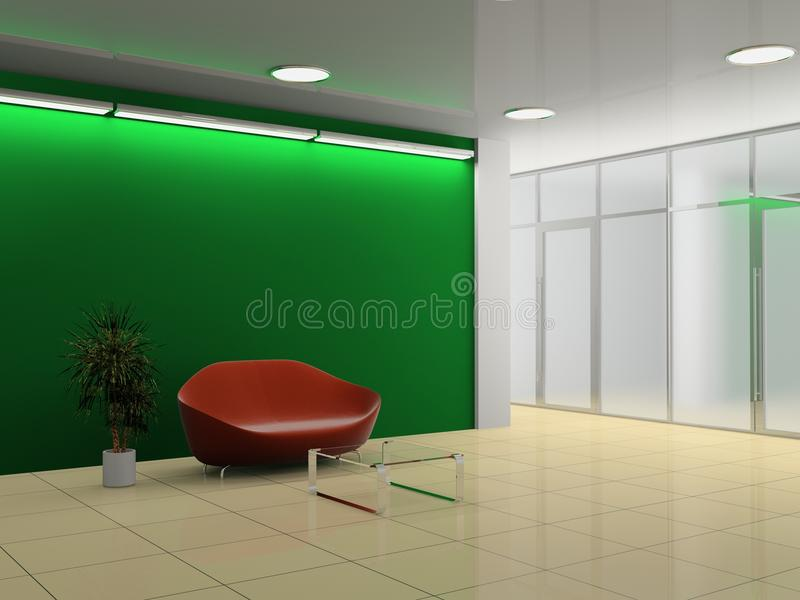 Office hall. Modern interior of the ofiice hall 3D