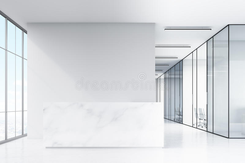 Office hall with panoramic windows and glass walls of meeting rooms. There is a marble reception counter in the left part. 3d rendering. Mock up stock illustration