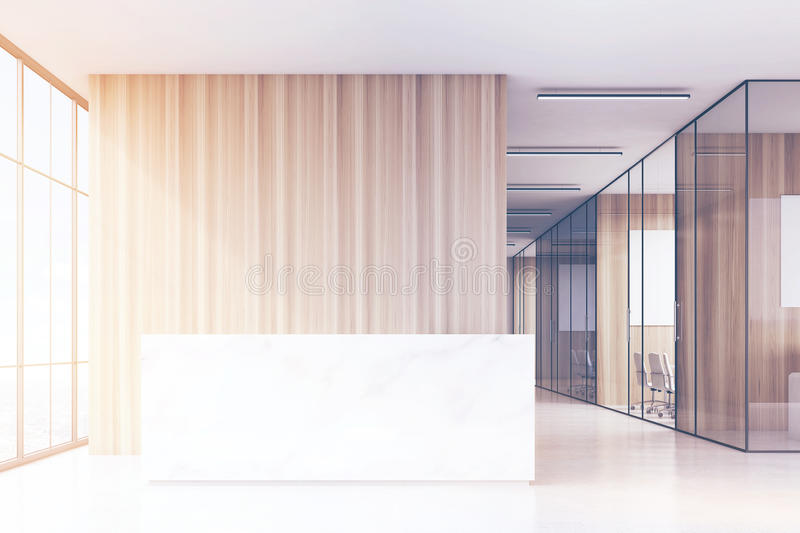 Office hall with panoramic windows and light wooden and glass walls of meeting rooms. There is a marble reception counter in the left part. 3d rendering. Mock stock illustration