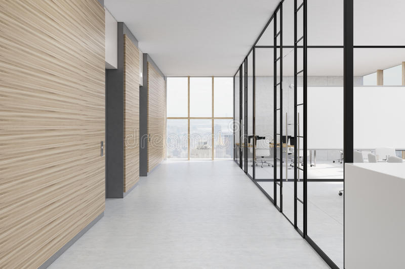 office hall with wooden and glass walls stock illustration illustration of background. Black Bedroom Furniture Sets. Home Design Ideas