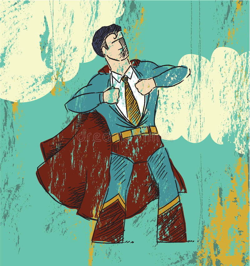 Office Hero. A grunge effect illustration of a man ripping out his red and blue super hero suit with a cape to reveal his business attire royalty free illustration