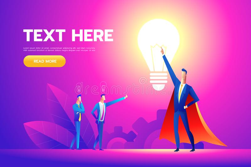 Office hero admired by colleagues for courage, ideal manager in superhero cloak boasting. Vector flat style cartoon vector illustration