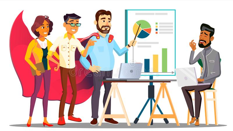 Office Hero Completing A Business Plan In Cloak Of Superhero Among Colleagues Vector. Isolated Illustration stock illustration