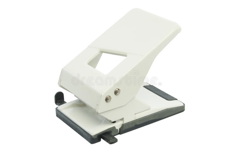 Office hole punch. Big white office hole punch isolated on white background royalty free stock images