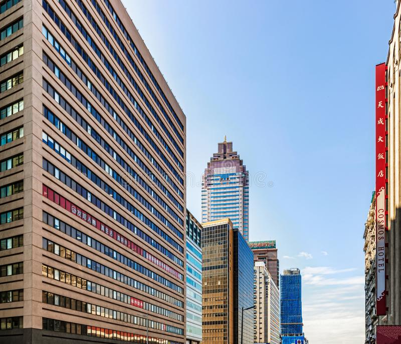 Office and hotel buildings in downtown of Taipei, Taiwan. Taipei, Taiwan - Jan 16, 2017: Office and hotel buildings along Zhongxiao West Road in downtown of stock photos