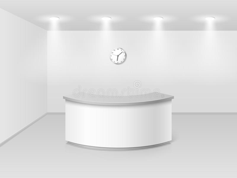 Office or hotel interior with reception counter desk 3d vector illustration stock illustration