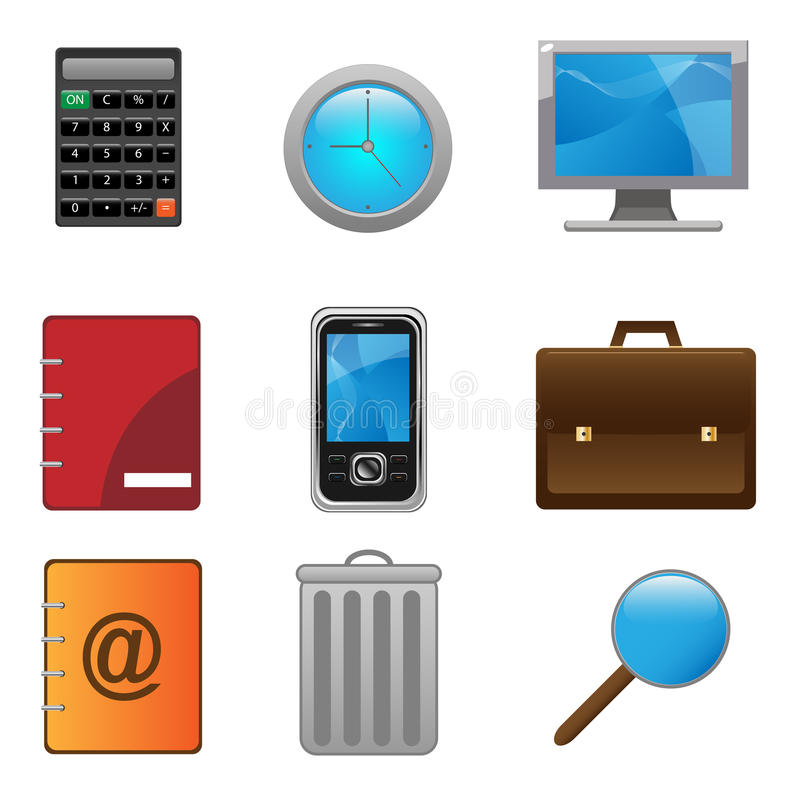 Download Office icon set stock vector. Image of icons, email, business - 13360290