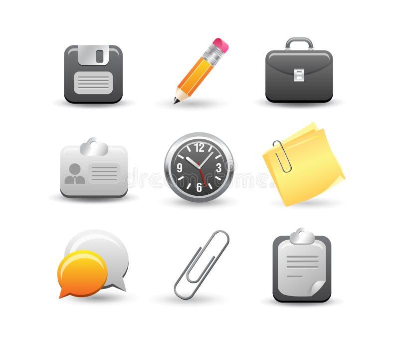 Office icon set stock illustration