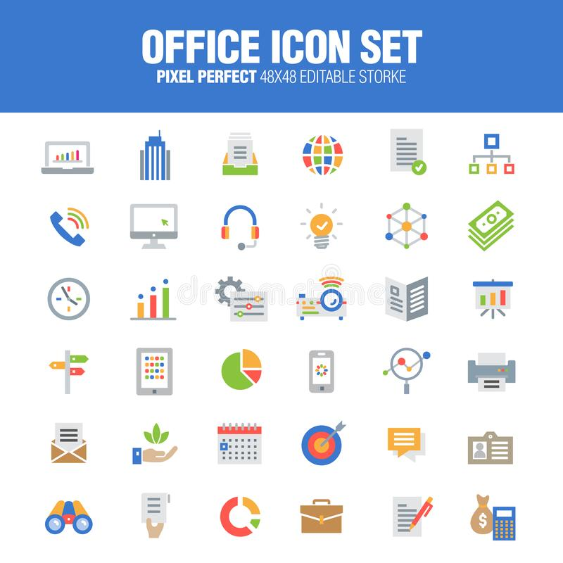 Office icon set color version royalty free illustration