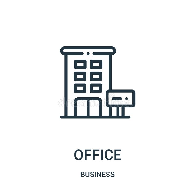 office icon vector from business collection. Thin line office outline icon vector illustration. Linear symbol royalty free illustration