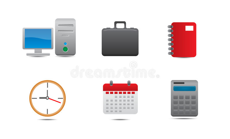 Office Icons. An illustrated set of various office related icons, isolated on white background royalty free illustration