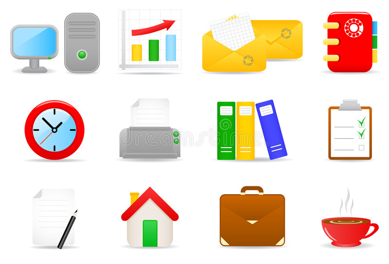 Download Office icons stock vector. Image of briefcase, folder - 5297034