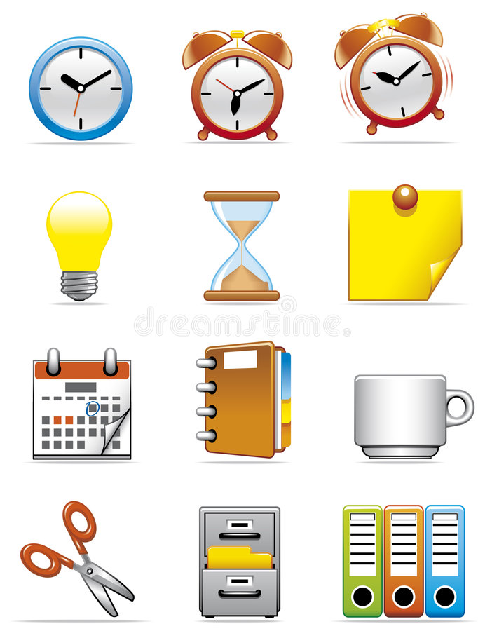 Download Office icons stock vector. Illustration of clock, business - 7508952
