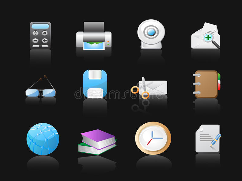 Download Office Icons In Black Background Royalty Free Stock Photo - Image: 13913505