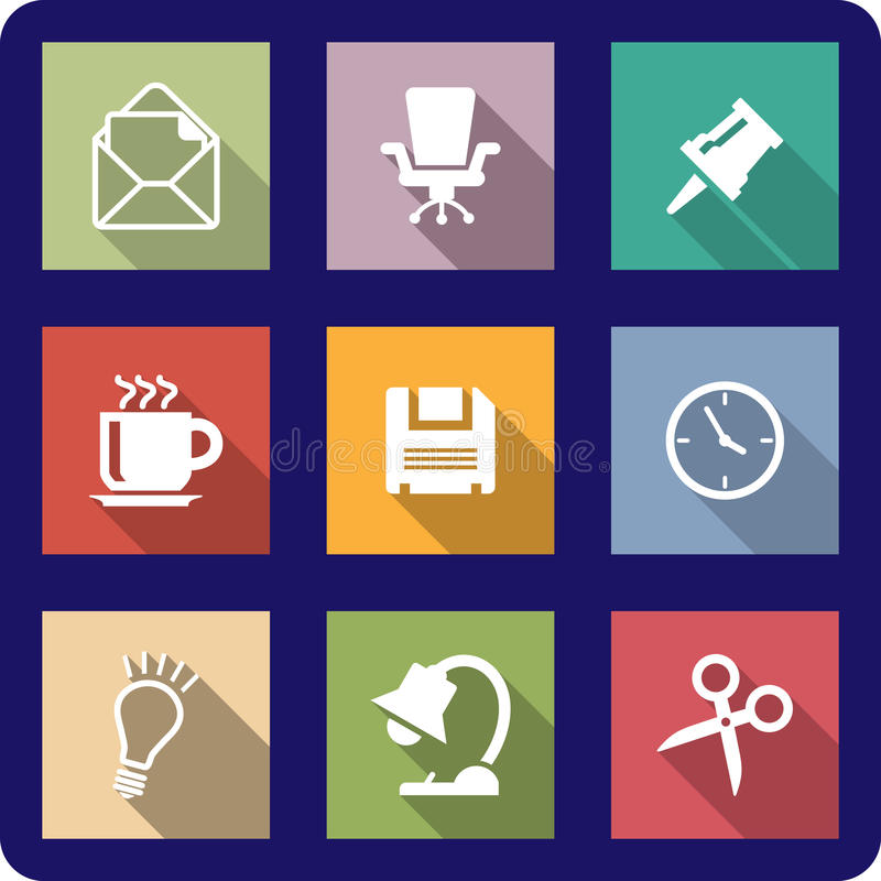 Download Office Icons On Coloured Backgrounds Stock Photo - Image: 38060044