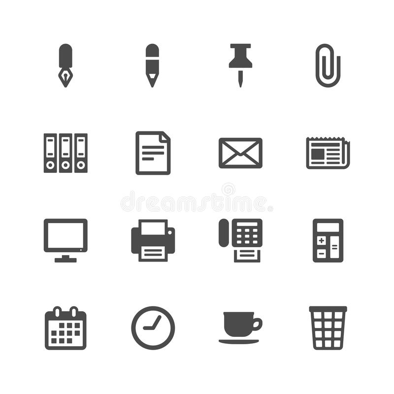 Download Office icons stock vector. Image of coffee, object, clock - 36407308