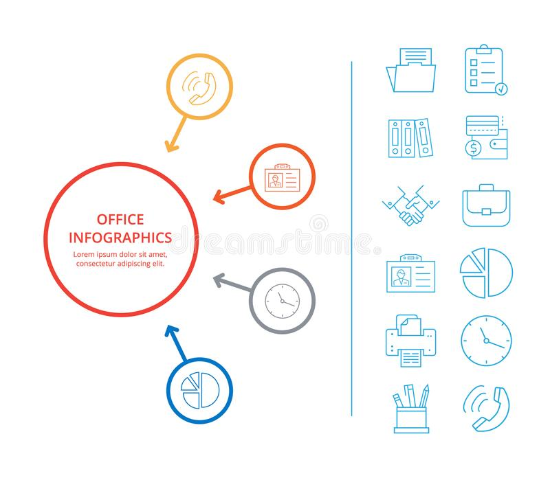Office Infographics Business Income Icon Analysis. Office infographics business income constituent analysis with colorful diagram icons of money currencies and stock illustration