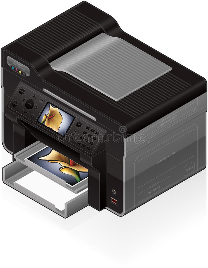 Office InkJet Printer vector illustration