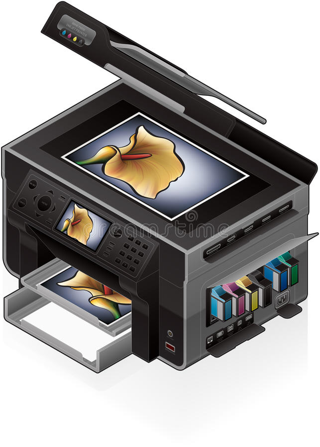 Office InkJet Printer royalty free illustration