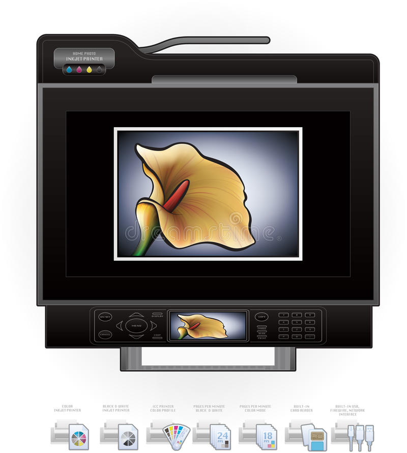 Office InkJet Printer/Photocopier stock illustration