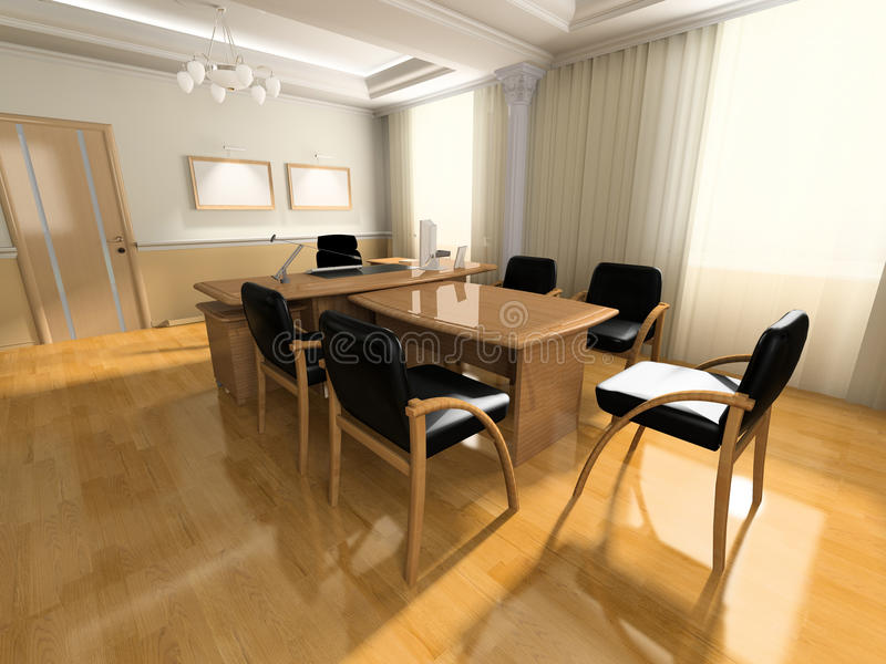Office interior. In classical style 3d rendering stock illustration