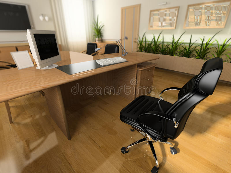 Office interior. In classical style 3d rendering vector illustration