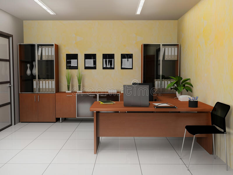Office interior. In modern style 3d rendering vector illustration