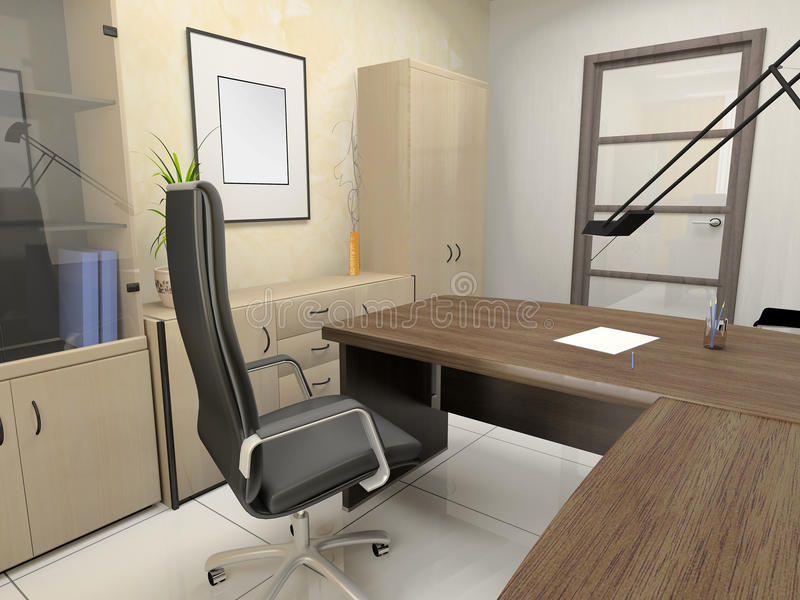 Office interior. In classical style 3d rendering royalty free illustration