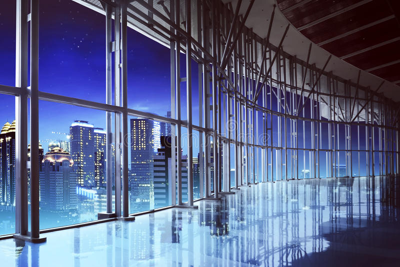 Office interior background. Image of office interior in jakarta city at night royalty free stock photography