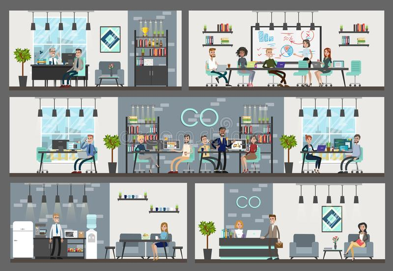 Office interior building. stock illustration