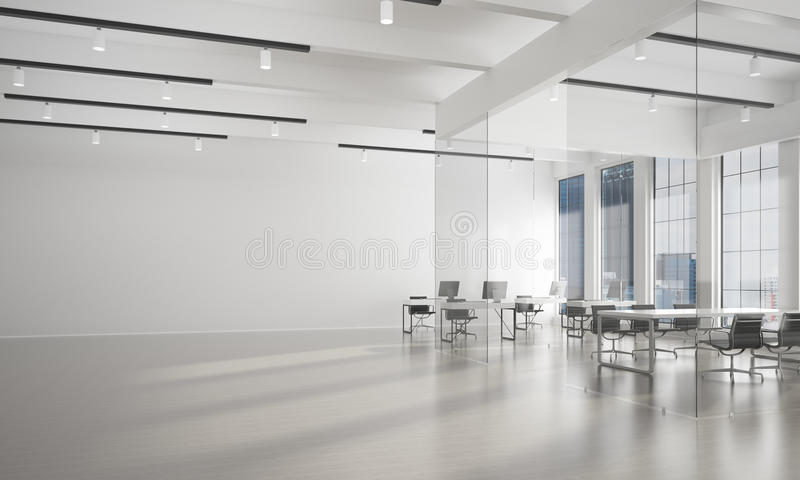 Office interior design in whire color and rays of light from window. Modern empty elegant office with windows and workplaces. 3D rendering